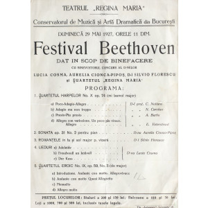 """Afiș al teatrului """" Regina Maria"""", din 1927, ce anunță Festivalul Bethooven în scop caritabil"""
