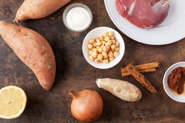 Zutaten für Lamm mit Kichererbsen und Süsskartoffeln