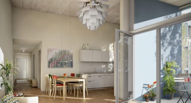 Wohnungen in jeder Preislage, für Singles, Paare, Familien und sogar WGs: Ein starkes Argument für diese Wohnform. Visualisierung © Karin Gauch und Fabien Schwartz