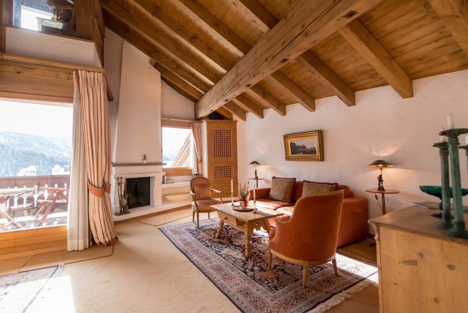 swiss chalet with fireplace