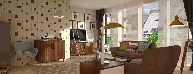 Trendig eingerichtete Wohnung mit verschiedenen Lichtquellen.