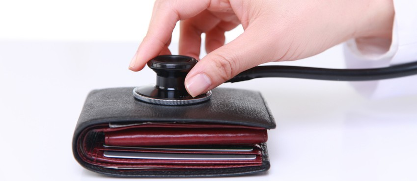 doctor examines a wallet