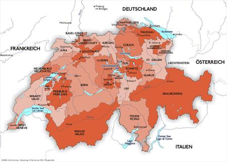 Die Kantone der Schweiz (Grafik: Wikimedia Commons/Sansculotte) - anklicken für grössere Ansicht