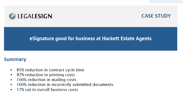 Image for Success with e-Signature at Hackett Estate Agents