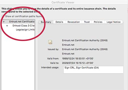 PDF Reader detail on a certified pdf