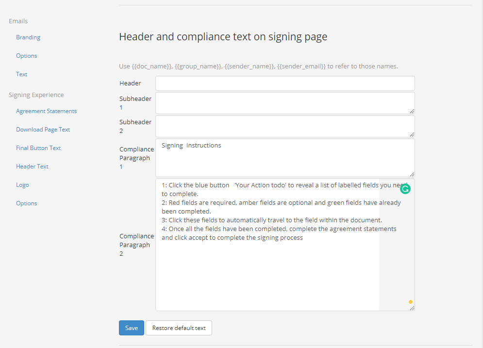Where to change signing page text on Legalesign