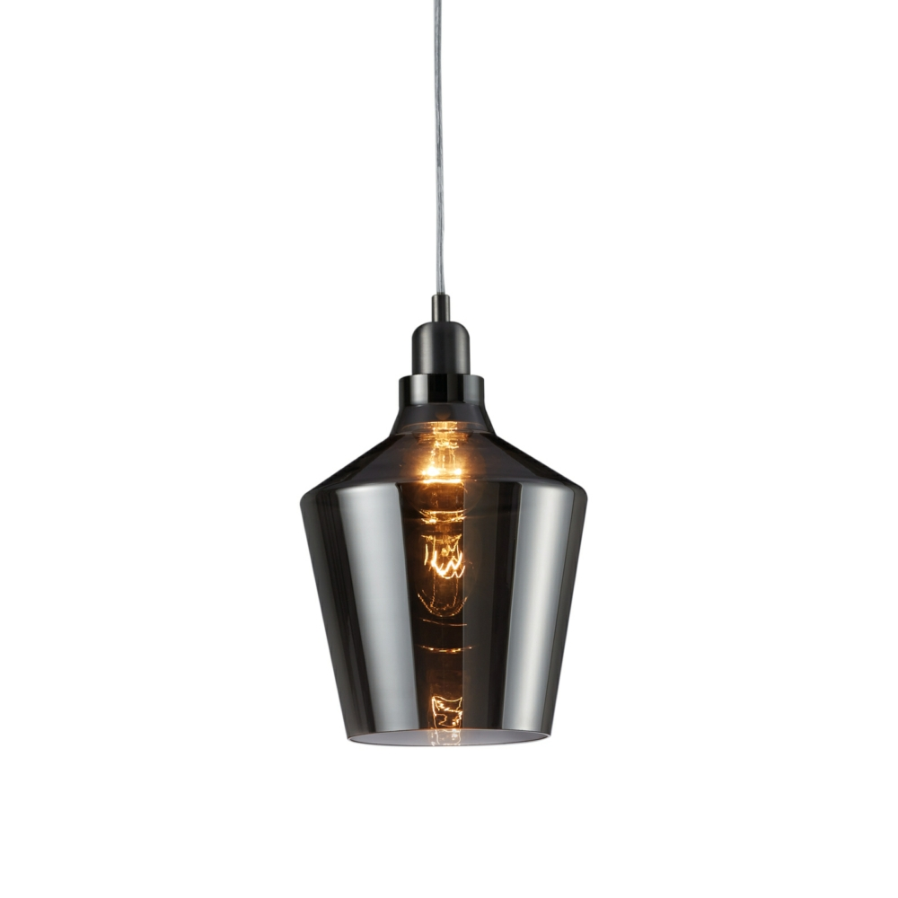 Calais Pendant Ceiling Light, Smoked Glass