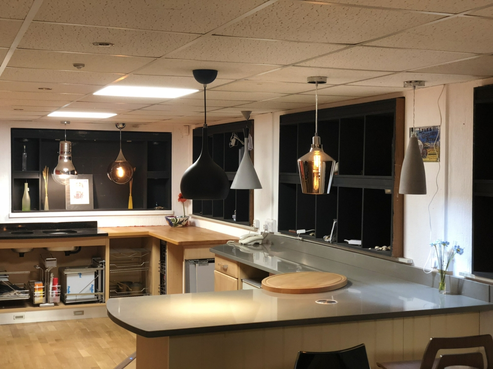 Kitchen pendant lights in showroom