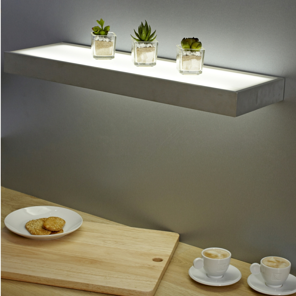 600mm Floating Box LED Lighting Glass Shelves