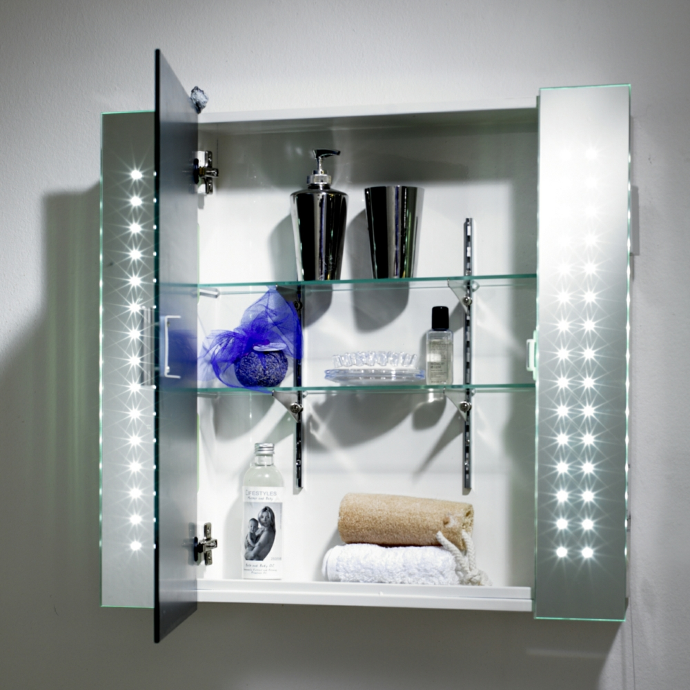 Multi Point Led Mirror Cabinet With Shaver Socket