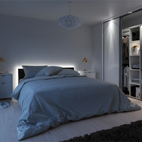 Plinth lighting behind bed frame
