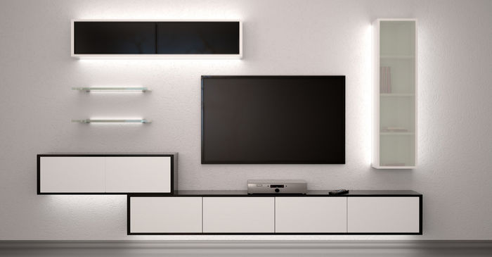 shelves and cabinets in living room lit up with led aluminium extrusion profiles