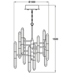 Shard 20 Light, 10 Arm LED Ceiling Pendant Light, IP20 Rated