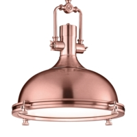 Boston Industrial Style Pendant Ceiling Light, Copper Finish