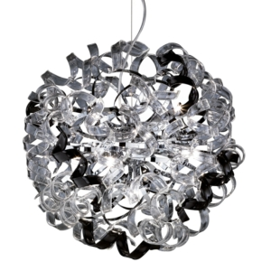 Pinwheel Pendant Ceiling Light, Chrome Metal Body