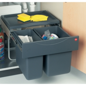 Hailo Space Saving Tandem 50 Waste Bin, 30 Litre Capacity