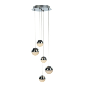 Eclipse 5 Light Round Drop Adjustable LED Ceiling Pendant, IP20 Rated
