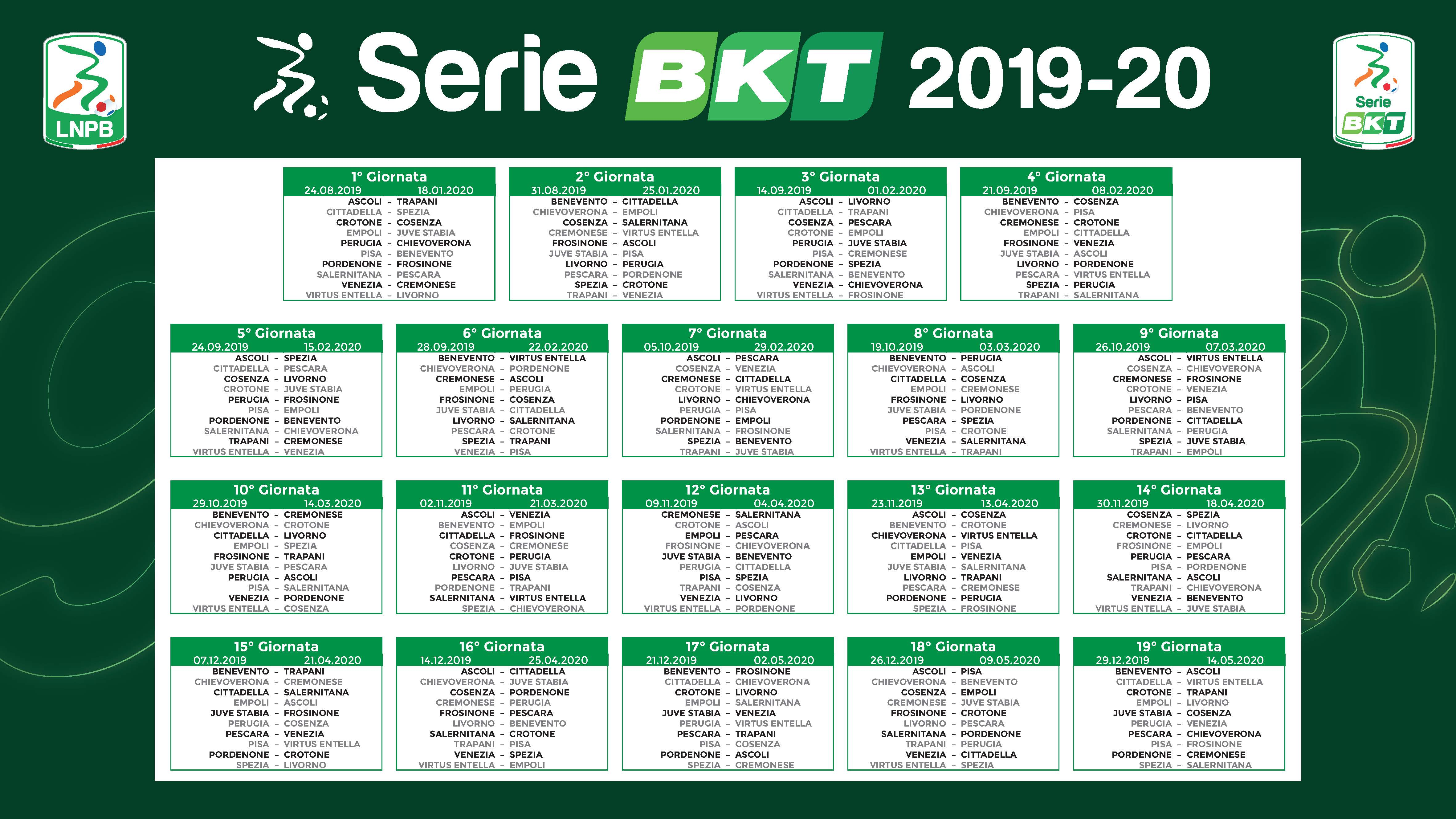 Juve Calendario Partite.Sorteggio Calendario Serie B 2019 20 Tutte Le Partite