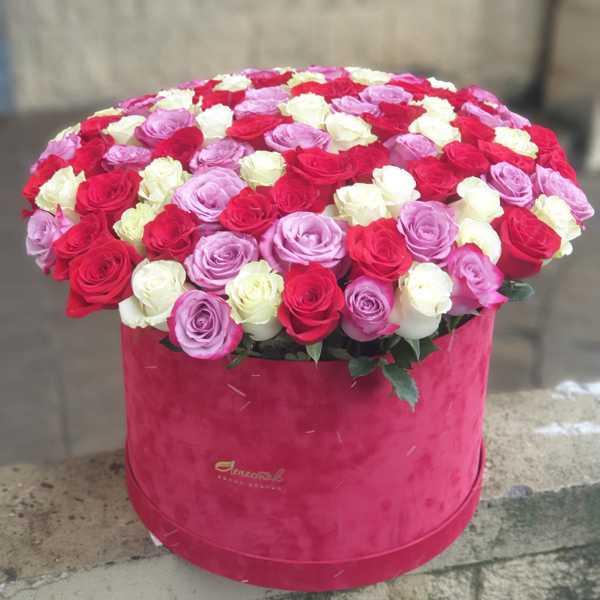 Микс из 101 розы в бархатном цилиндре