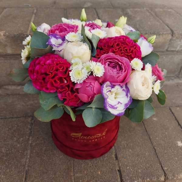 Цилиндр из пионовидных роз, эустом и целозии