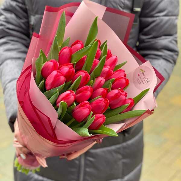 25 красных тюльпанов в вертикальной упаковке