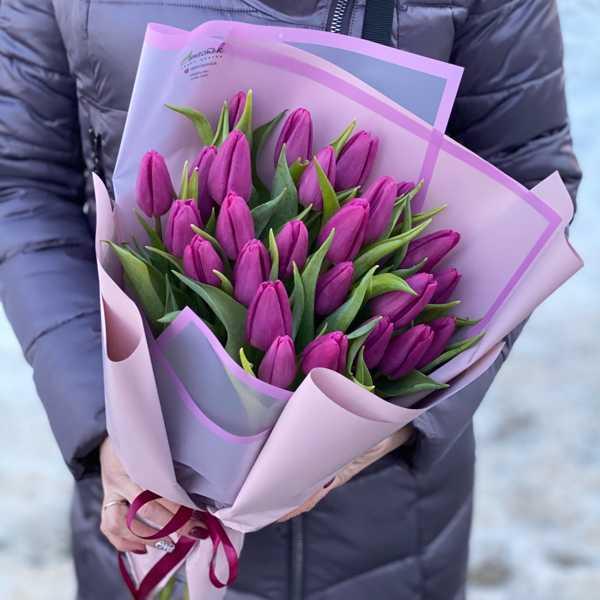 Фиолетовые тюльпаны в вертикальной упаковке 25 штук