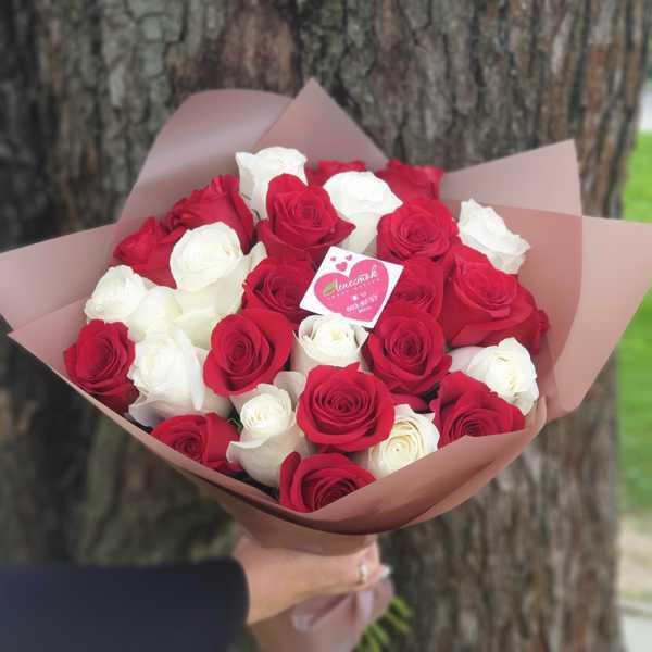Микс из 27 импортных роз красного и белого цвета