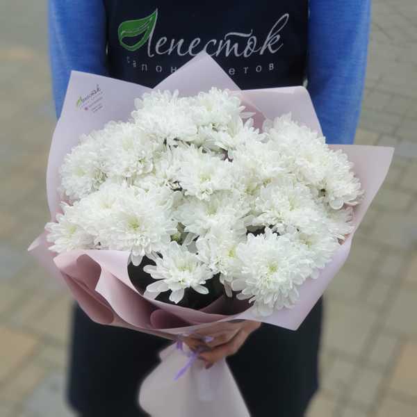 Охапка из белых кустовых хризантем Зембла