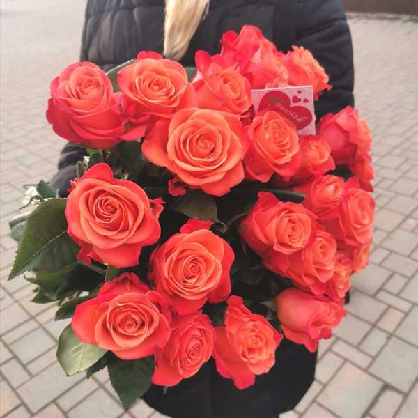 25 огненных импортных роз ORANGE CRUSH