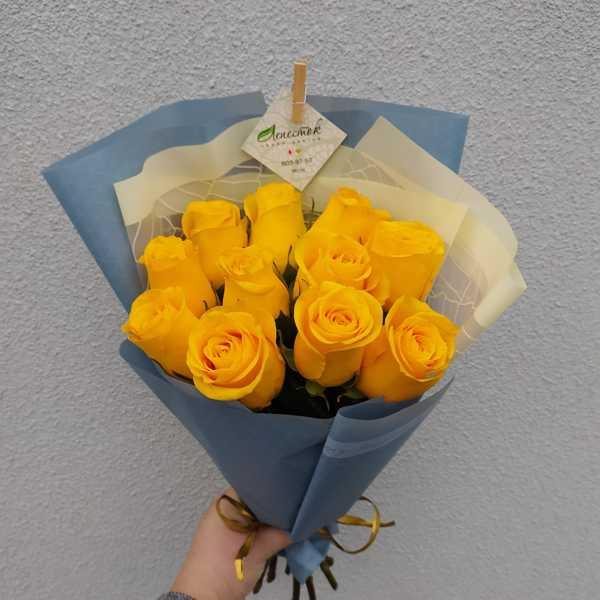 Букетик из 11 желтых роз