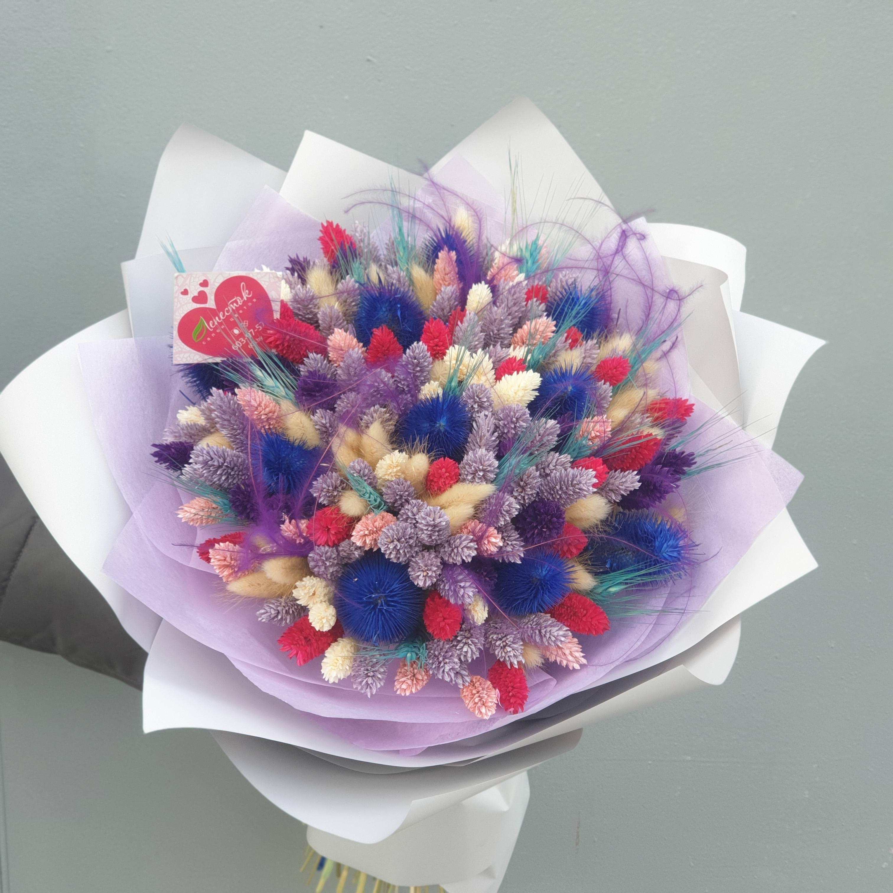 Букет из сухоцветов ( фаларис, лагурус, колоски, стифа)