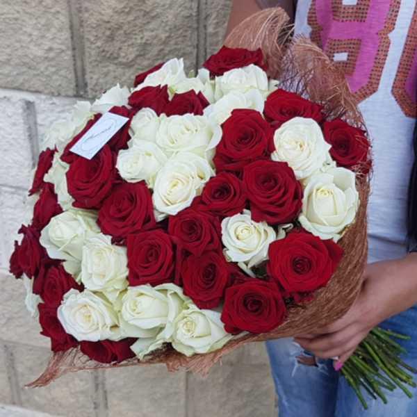 51 белорусская красная и белая роза вперемешку