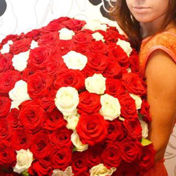 101 роза красно-белая