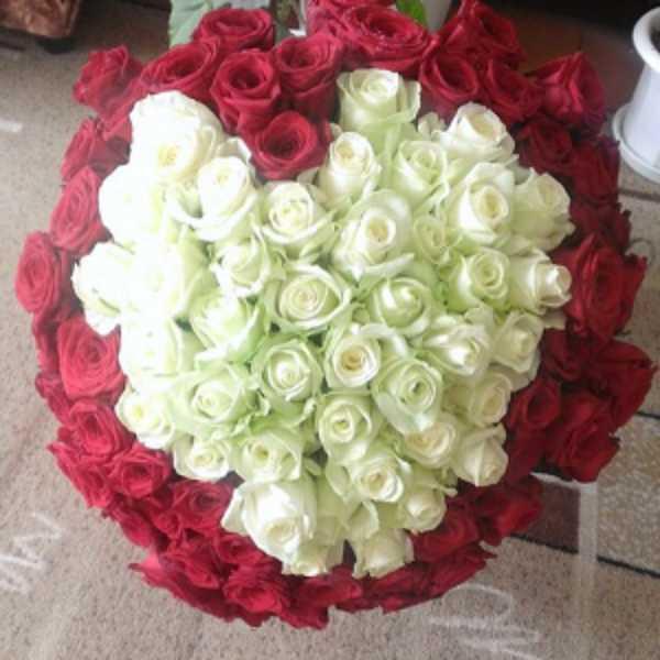 101 роза с белым сердцем