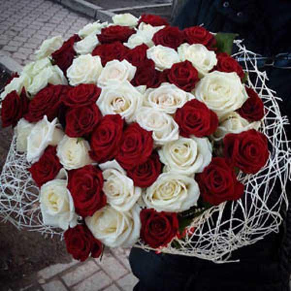 55 роз красного и белого цвета