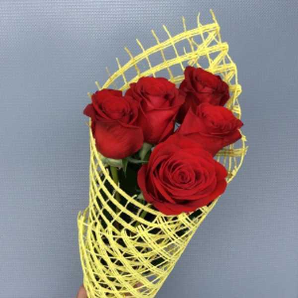 5 красных роз в сетке