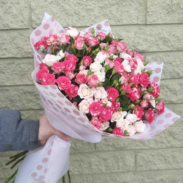 21 кустовая роза в упаковке