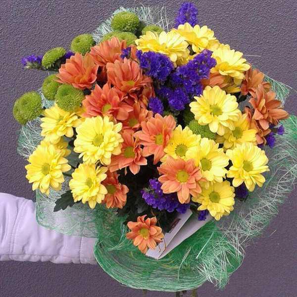 Букет из хризантем, статицы и упаковки
