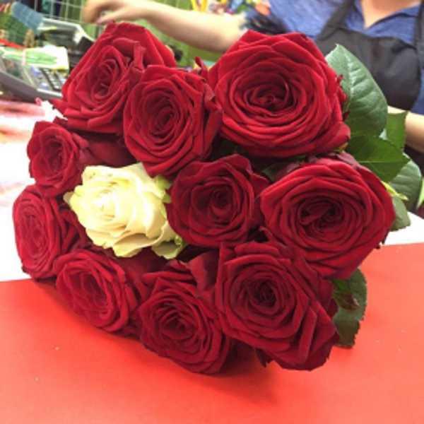 Букет из 11 роз с белой розой в центре