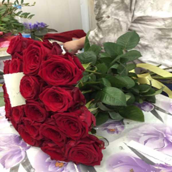 21 роза красного цвета