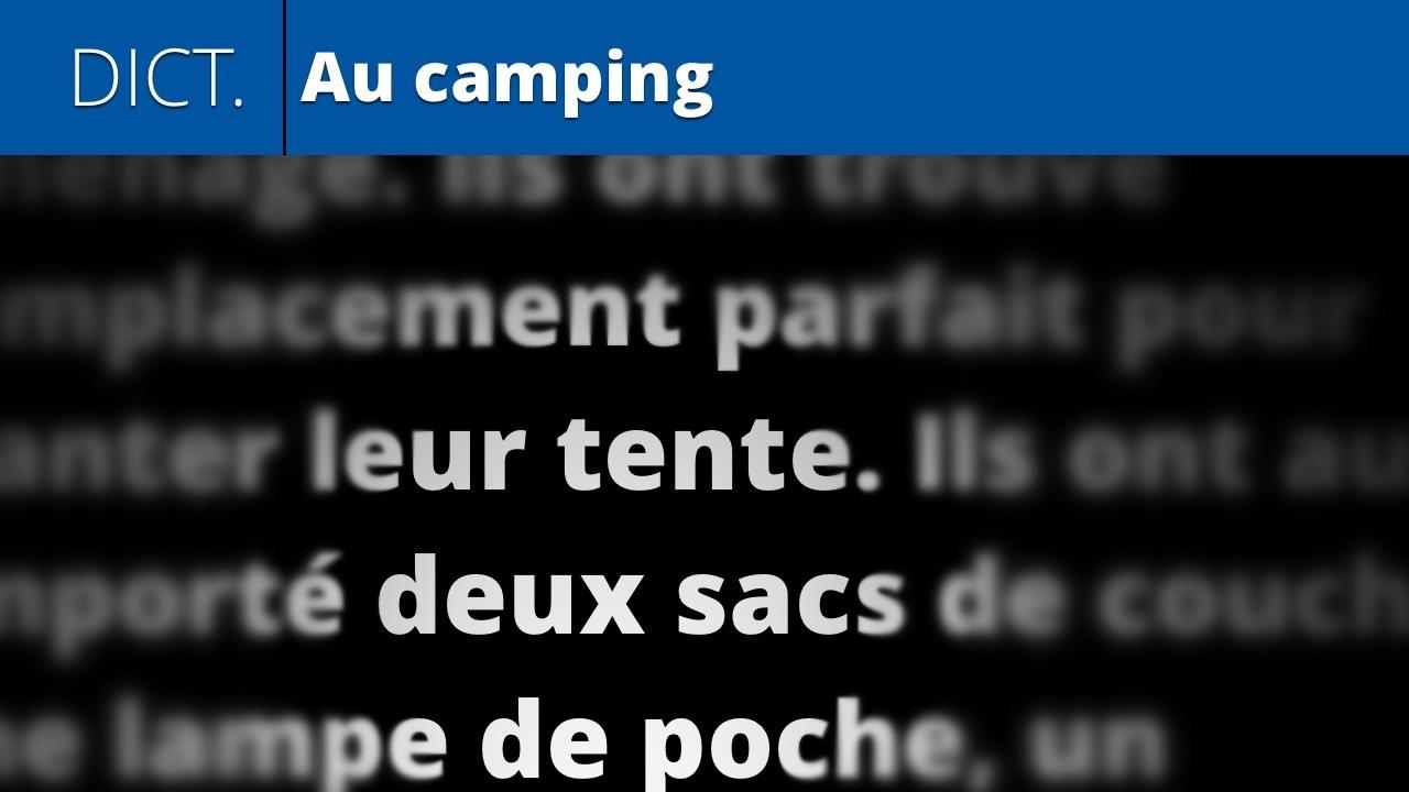Au camping (dictation dialogue 16)