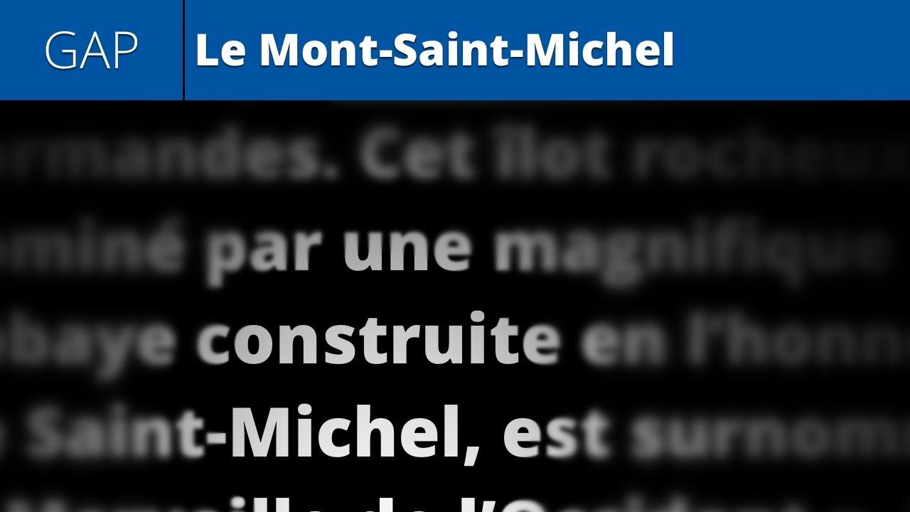 Le Mont-Saint-Michel (gap fill lesson 16)