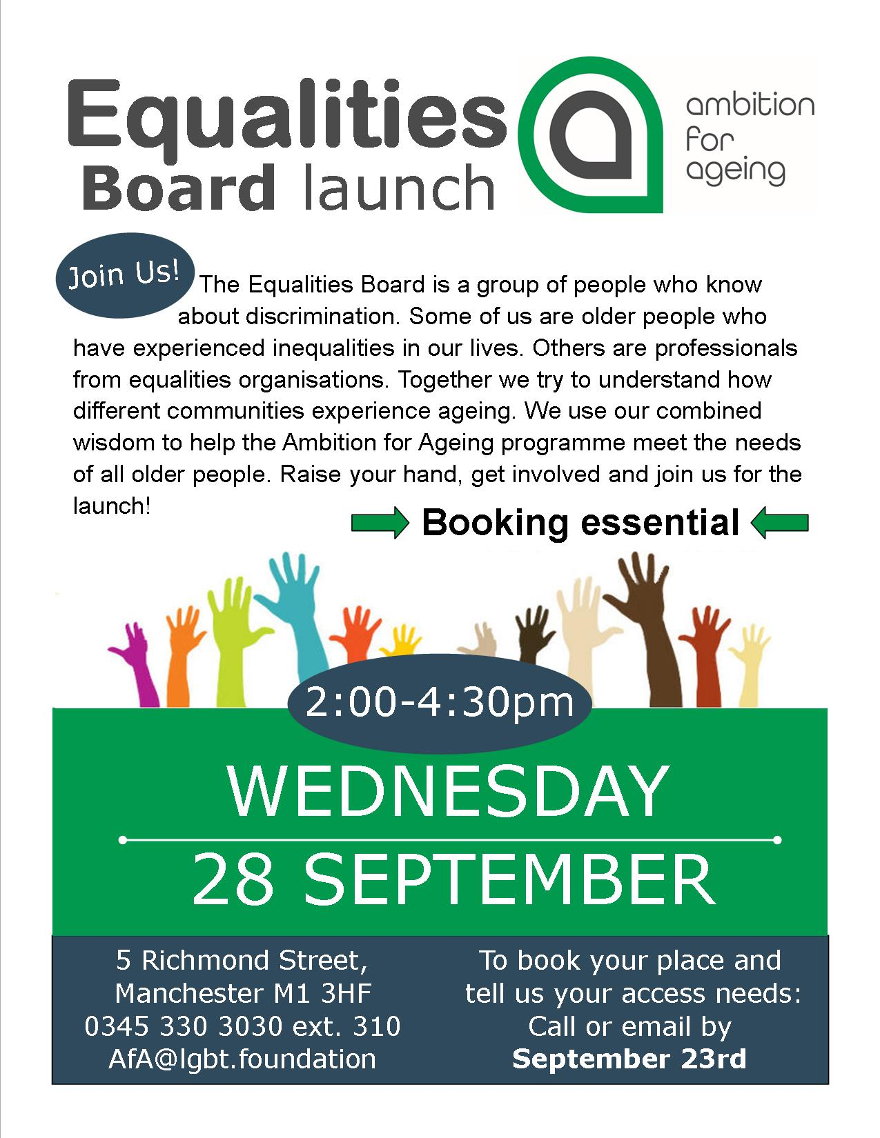 flyer announcing launch of the Equalities Board with image of different coloured hands reaching and text describing the Equalities Board and meeting date in September 2016