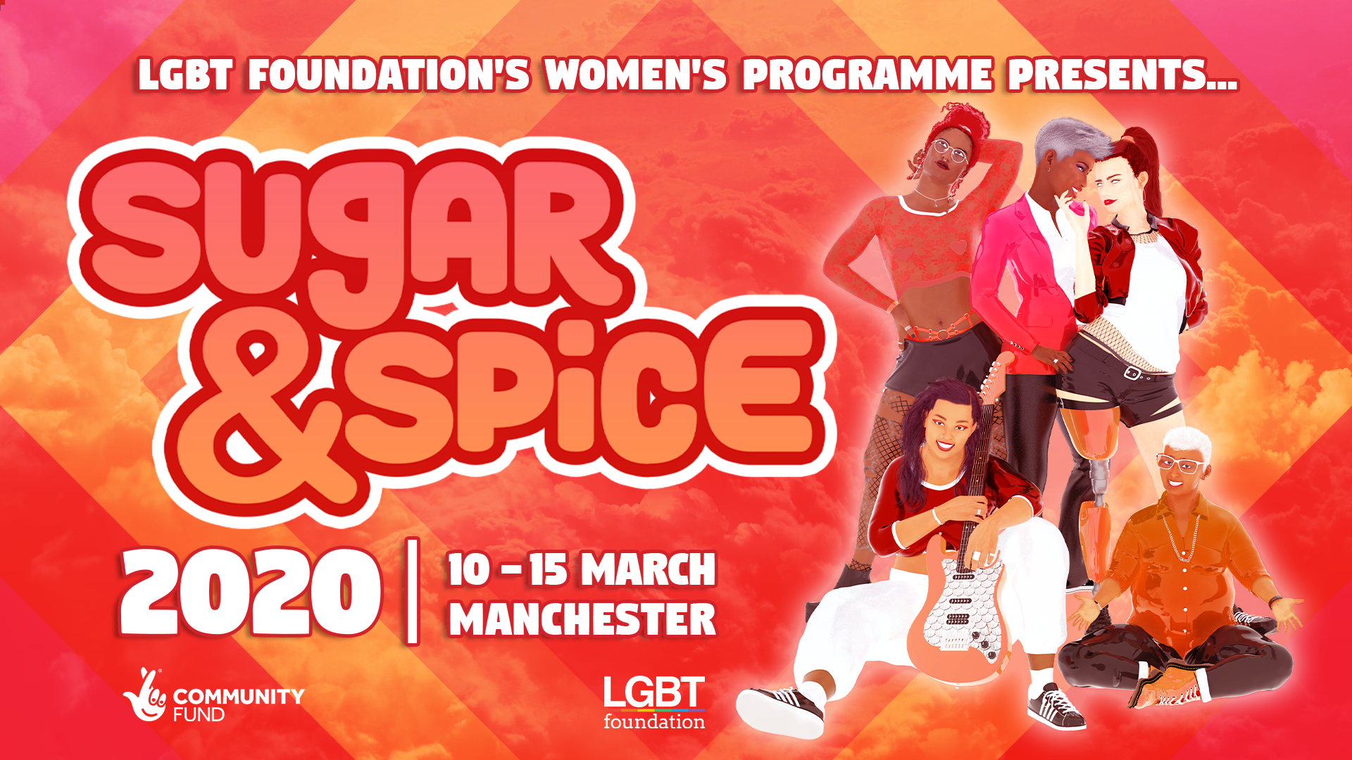 """Red and orange cloud background with text overlay """"LGBT Foundation's Women's Programme presents Sugar & Spice"""" with a group of 5 womxn to the right hand side, two are sitting on the ground"""