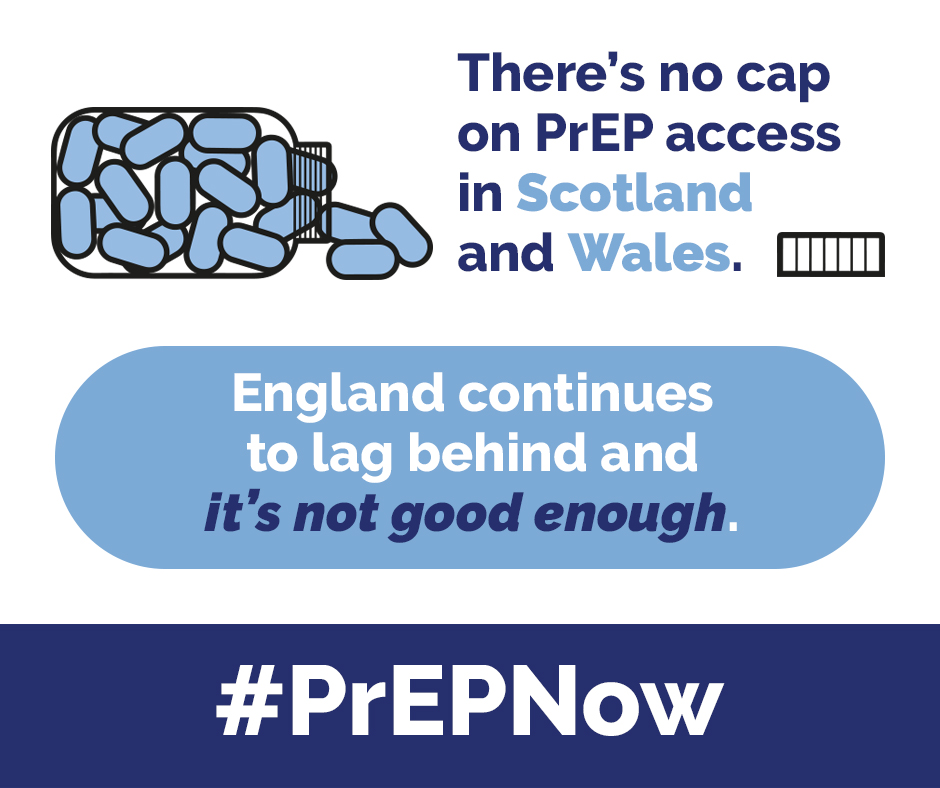 There's no cap on PrEP access in Scotland and Wales. England continues to lag behind and it's not good enough