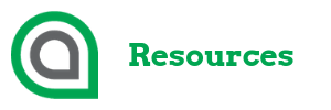 Resources button white background green text AFA logo