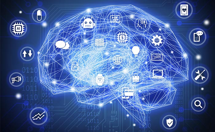 Big data brain with connections
