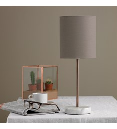 Bianco Brushed Copper Table Lamp With Biscuit Shade