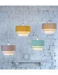 3 Tier Cylinder Pendant Shade - Ochre, Yellow and Ivory