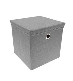 Storage Box with Lid - Grey | 30cm x 30cm Foldable Box